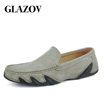 Fashion Brand Men Casual Loafers Suede Leather Top Men's Casual Shoes Slip On Boat Shoes For Men Moccasins Chaussure Homme 38-47