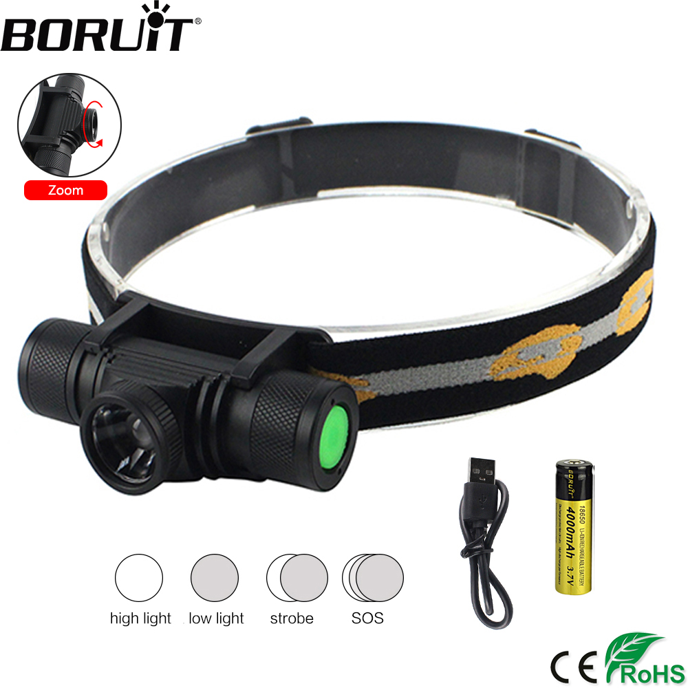 BORUiT D20 XM-L2 LED Headlight 4-Mode Zoomable Headlamp USB Charger Head Torch Fishing Camping Flashlight by 18650 Battery boruit xm l2 led headlamp zoom flashlight 4 mode rechargeable headlight portable camping hunting head lamp torch 18650 battery