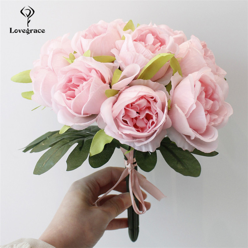 10 Heads Silk Artificial White Flowers Bouquet For Decorations DIY Bridal Flower Bouquet Mariage Rose Wedding Bouquets Lovegrace