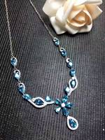 Natural blue topaz gem Necklace natural gemstone Pendant Necklace S925 silver trendy Luxury Flowers women party fine Jewelry