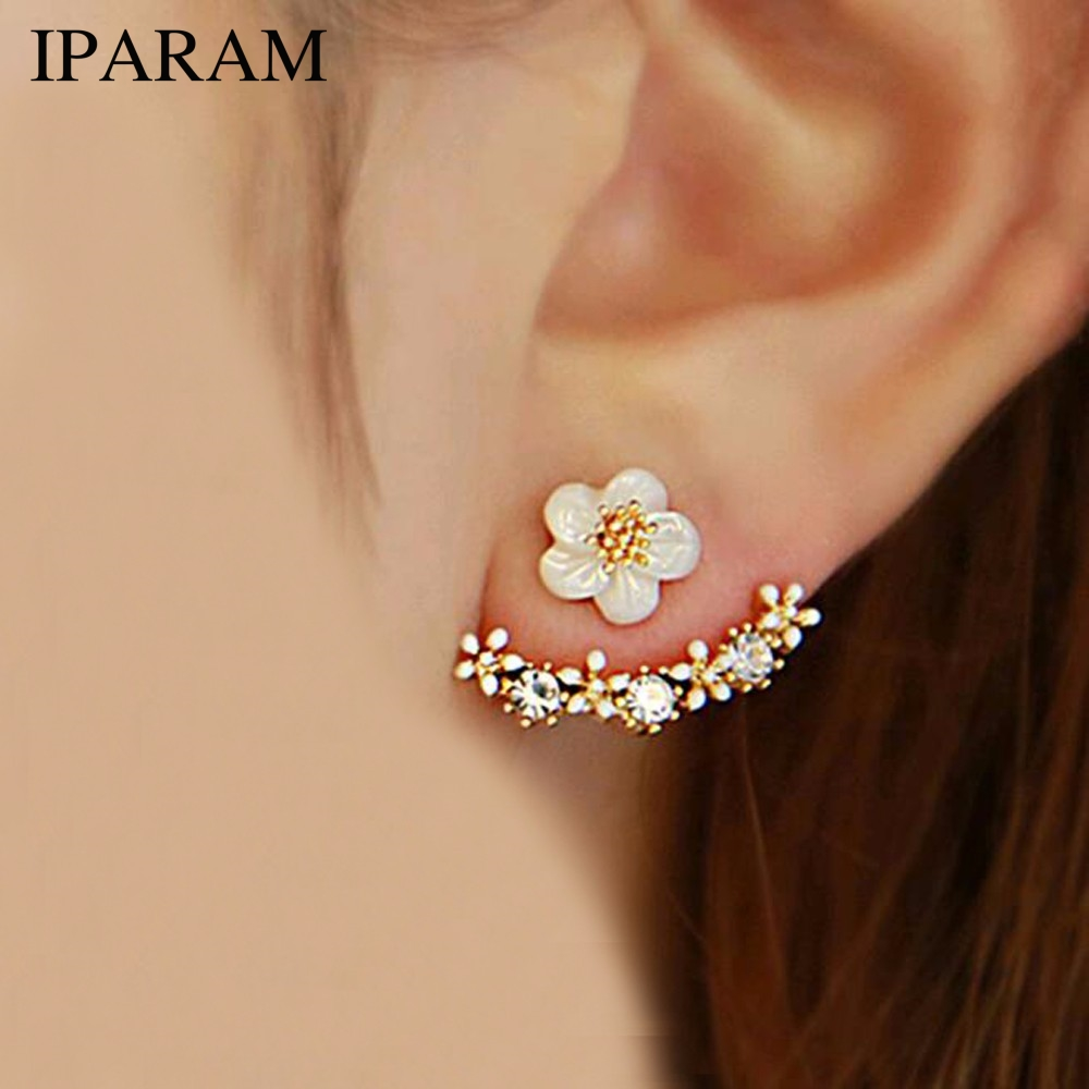 IPARAM 2019 Korean Fashion Imitation Pearl Earrings Small Daisy Flowers Hanging After Senior Female Jewelry Wholesale(China)