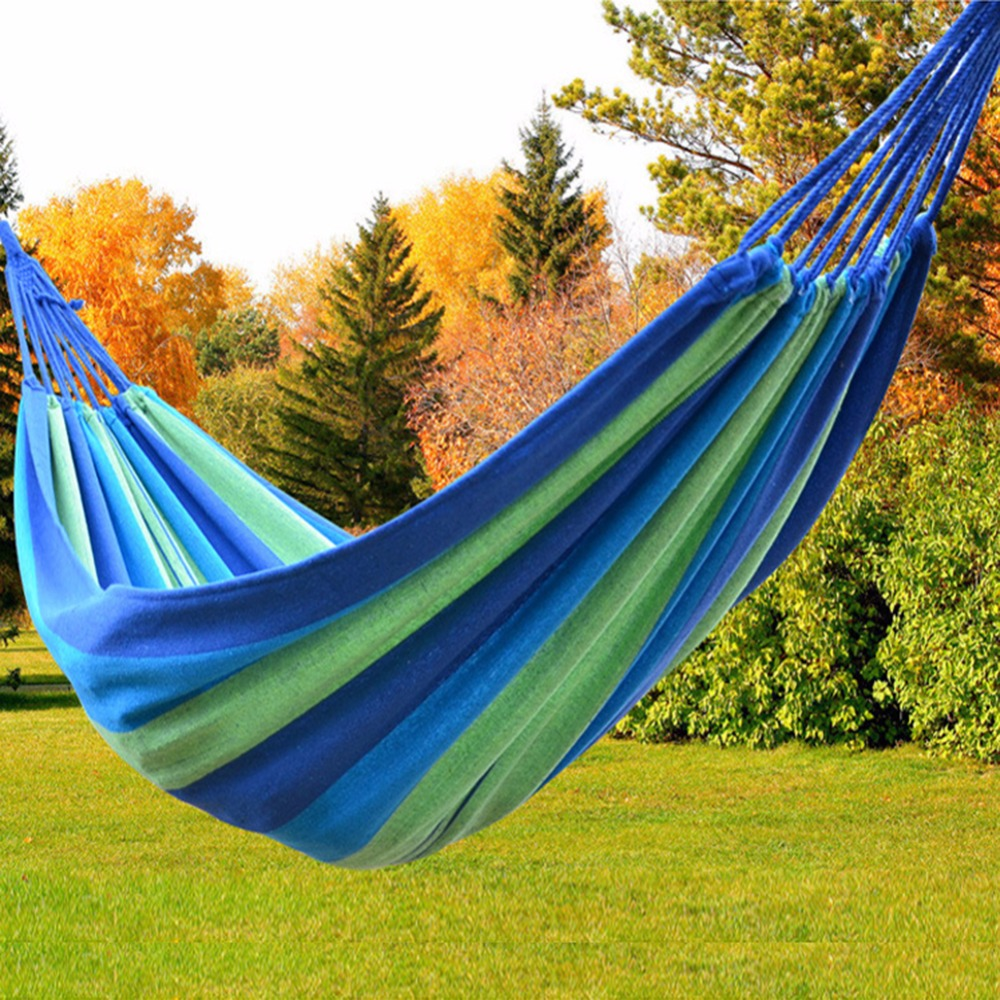 Outdoor Camping Portable Cotton Rope Outdoor Swing Fabric Camping Hanging Hammock Canvas Bed