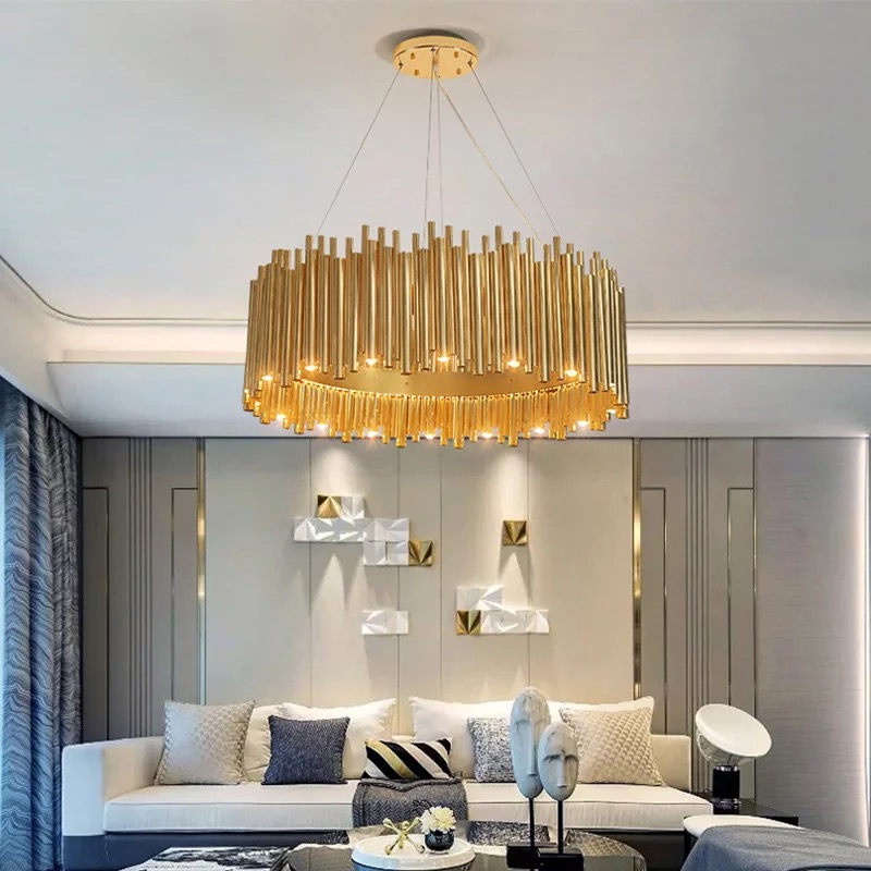 Vintage Metal Pipe Foyer Led Chandeliers Art Design Decoration Restaurant Bedroom Hall Pendant Lamp Loft Hanging Deco
