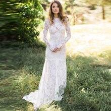 Женское платье с длинным рукавом boho кружевное открытой спиной