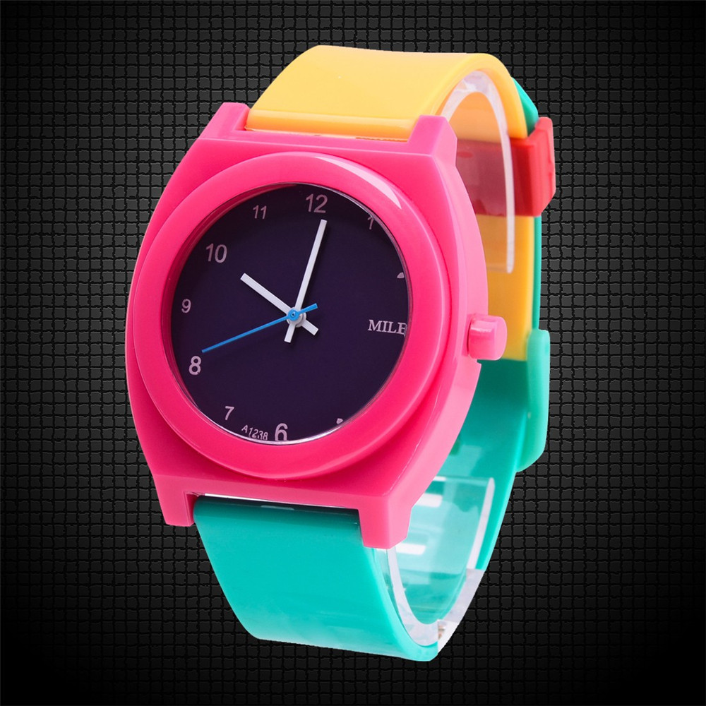 Unisex Candy Color Yellow Blue Peach Rubber Band Quartz Analog Sport  Casual Wrist Watch Cartoon Boys Girls Children Watches Hot new fashion design unisex sport watch silicone multi purpose date time electronic wrist calculator boys girls children watch