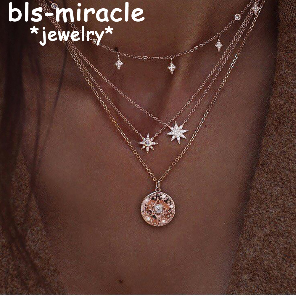 MAA-OE Boho Star Multi layer Necklaces For Women Girl Fashion Gold Sliver Color Long Moon Crystal Pendant Necklace 2018 New