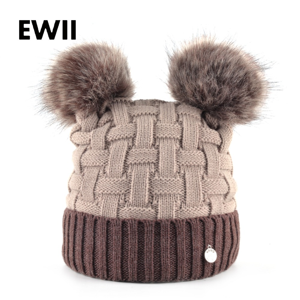 Ladies double pompom beanie caps women s winter hats girl knitted Imitation fur hat skullies women warm beanies cap gorros