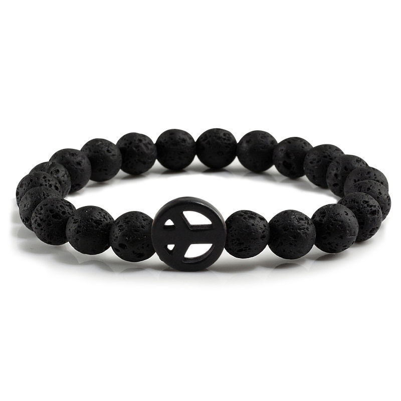 Natural Volcanic Lava Stone Strand Bracelets White/Black/Yellow Circle For Women Gifts Charm Beads Bangles Jewelry Men Accessory