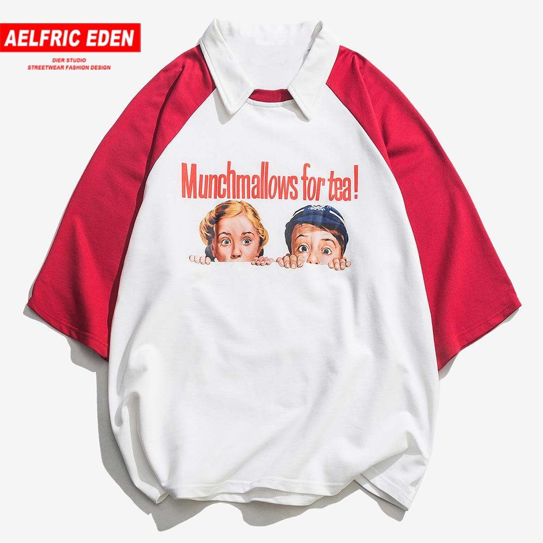 Aelfric Eden Fake Two Pieces Funny Pattern Printed Casual Hip Hop Mens T-shirts 2019 Summer Fashion Harajuku T-shirts Streetwear