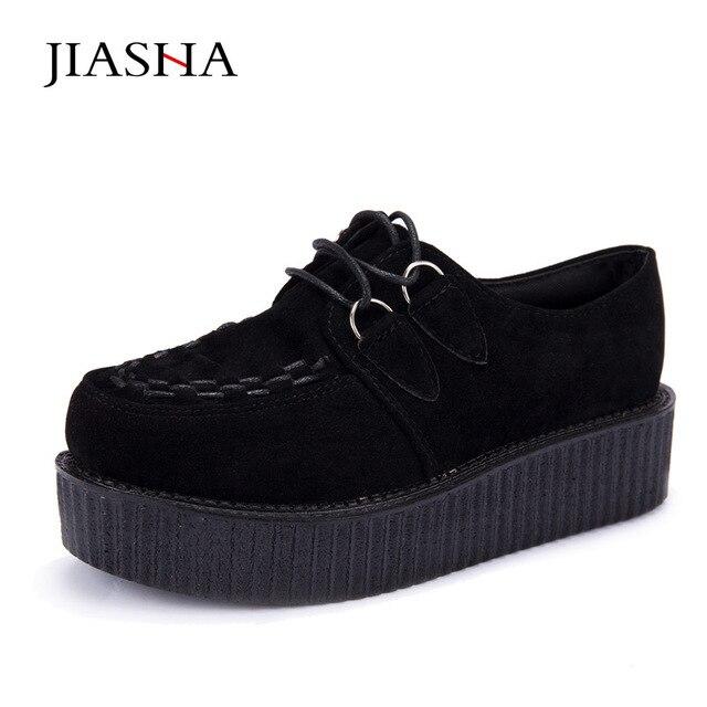 d451892ac € 13.13 35% de réduction Creepers chaussures dames grande taille 35 41 2019  chaussures à lacets en daim femmes chaussures légères creepers plate ...