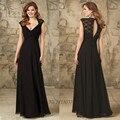 Mulheres império preto vestidos dama De honra casamentos irmã Chiffon V Neck Lace manga do Vestido De noiva Vestido De Madrinha