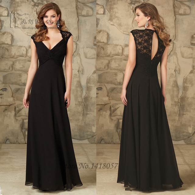 Women Empire Black Bridesmaid Dresses Weddings Cap Sleeve Chiffon V Neck  Lace Sister of the Bride b2096573240f