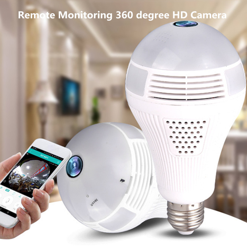 Remote Monitoring E27 Led bulb HD Camera 360 degree wireless WIFI night vision security home baby monitor led lamp night light camera security home hd wireless network smart phone remote wifi night vision security monitoring