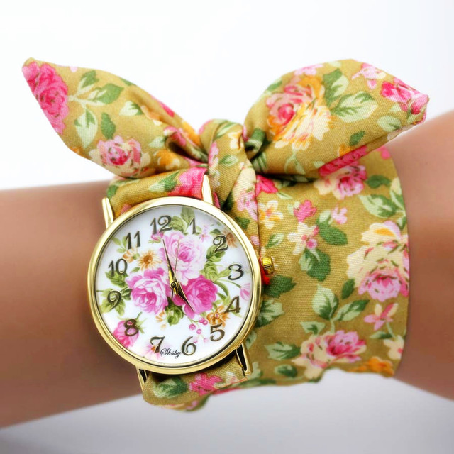 shsby new unique Ladies flower cloth wristwatch fashion women dress watch high quality fabric watch sweet girls Bracelet watch 3