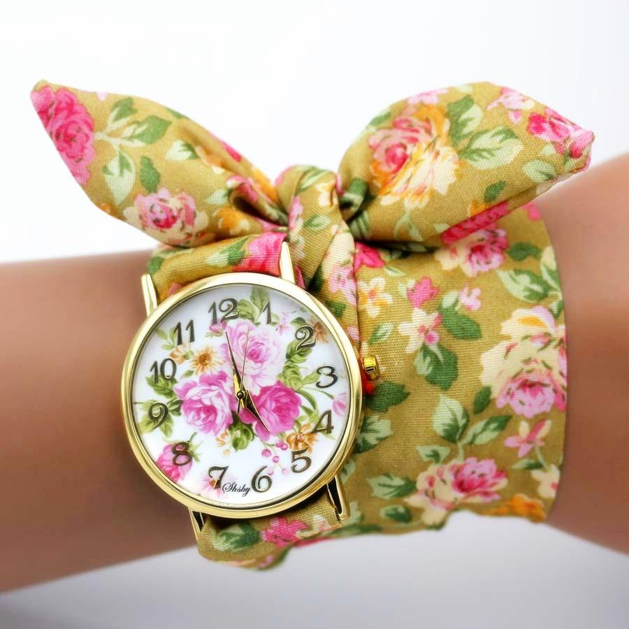 shsby nya unika damer blomma tyg armbandsur mode kvinnor klänning - Damklockor - Foto 4