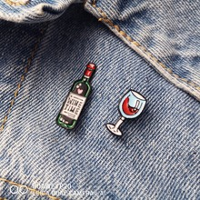 Mini Cute Wine Glasses Couple Brooches Pins Red Bottle Cup Enamel Pin Badge For Lovers Best Friend Jewelry