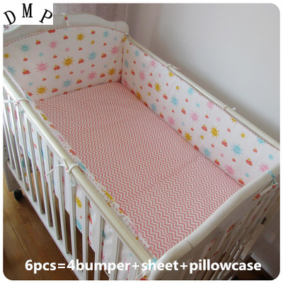 Promotion! 6pcs Appliqued Baby Cot Crib Bedding set for girl  ,include (bumper+sheet+pillow cover) promotion 6pcs baby crib bedding set for girl boys bedding set kids cot bumper baby cot sets include 4bumpers sheet pillow