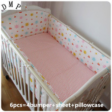 Promotion! 6pcs Appliqued Baby Cot Crib Bedding set for girl  ,include (bumper+sheet+pillow cover)