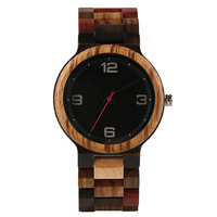 New Arrival Handmade Colorful Nature Wooden Strap Fold Clasp Quartz Wrist Watch Bangle Analog Fashion Full Wooden Simple Relogio