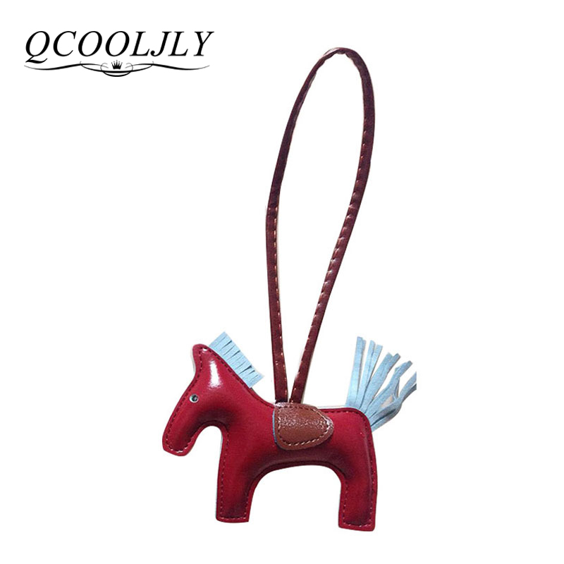 QCOOLJLY Famous Luxury Handmade PU Leather Horse Keychain Animal Key Chain Women Bag Cha ...