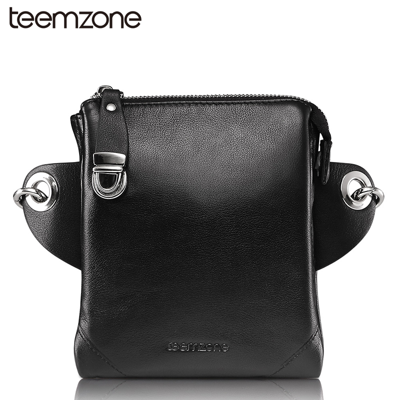 teemzone New  Fashion Men's Genuine Leather Shoulder  Messenger Cross Body Satchel Day Fanny Waist Pack Handbag Bag 2 Size S4001 teemzone men s genuine leather shoulder messenger cross body satchel day fanny zipper waist pack handbag bag wallet s4001