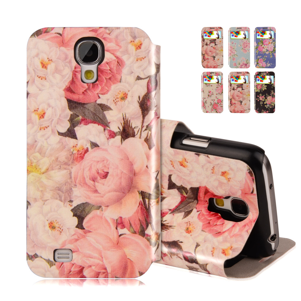 Flip Leather Case For Samsung Galaxy S4 Mini i9190 i9195 View Window Pink Flowers Pattern Hard Cover Stand Monile P