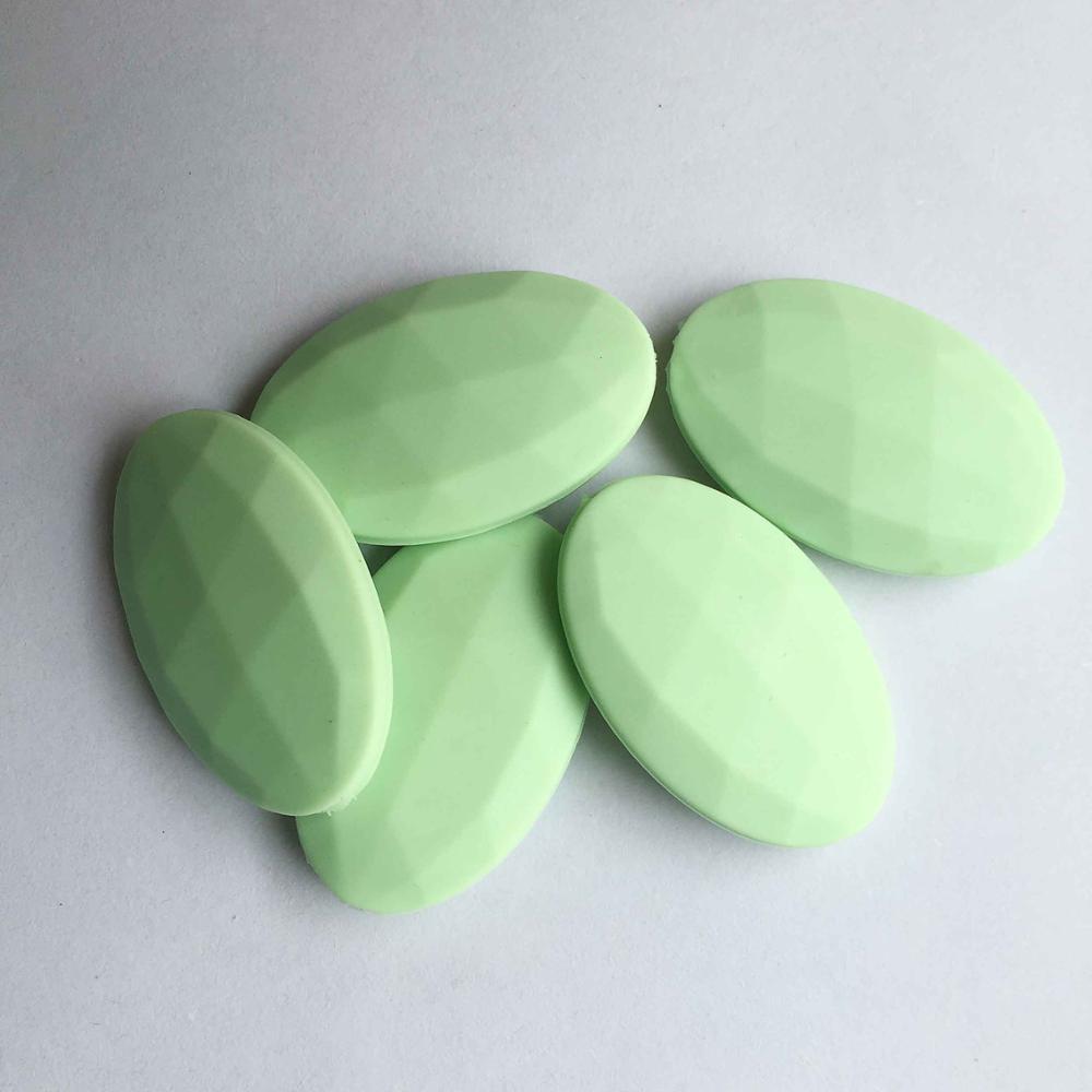 50 шт./лот плоские овальные свободные силиконовые Бусины для прорезывания зубов Цепочки и ожерелья силиконовые свободные Бусины для маленьких прорезыватель BPA бесплатно 19 цвет - Цвет: Mint green