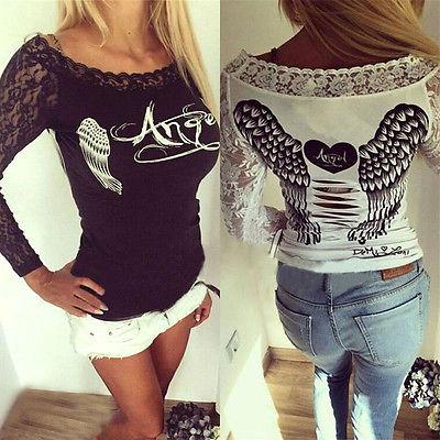 New Bird Wing Shirt Fashion Womens Long Sleeve Shirt Casual Lace Loose Cotton Tops T Shirt