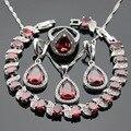 Red Cubic Zirconia Piedras Blancas de Color Plata Sistemas de La Joyería Collar Colgante Pulseras Pendientes Anillos Para Las Mujeres Caja de Regalo Libre