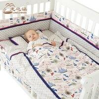 7pcs Baby Bedding Set Cotton Newborn Baby Bumper Crib Cartoon Bed Set Unisex Cot Sets Bedding Detachable Sheet Quilt