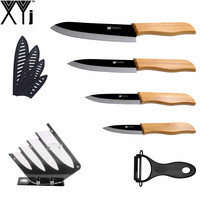 XYJ Brand Best Home Kitchen Knives Bamboo Handle Black Blade 3 4 5 6 Professional Ceramic