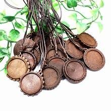 Ajuste 30mm cabochons brown madeira colar base em branco bandejas pingente de madeira diy jóias acessórios para colar que faz 5 fios