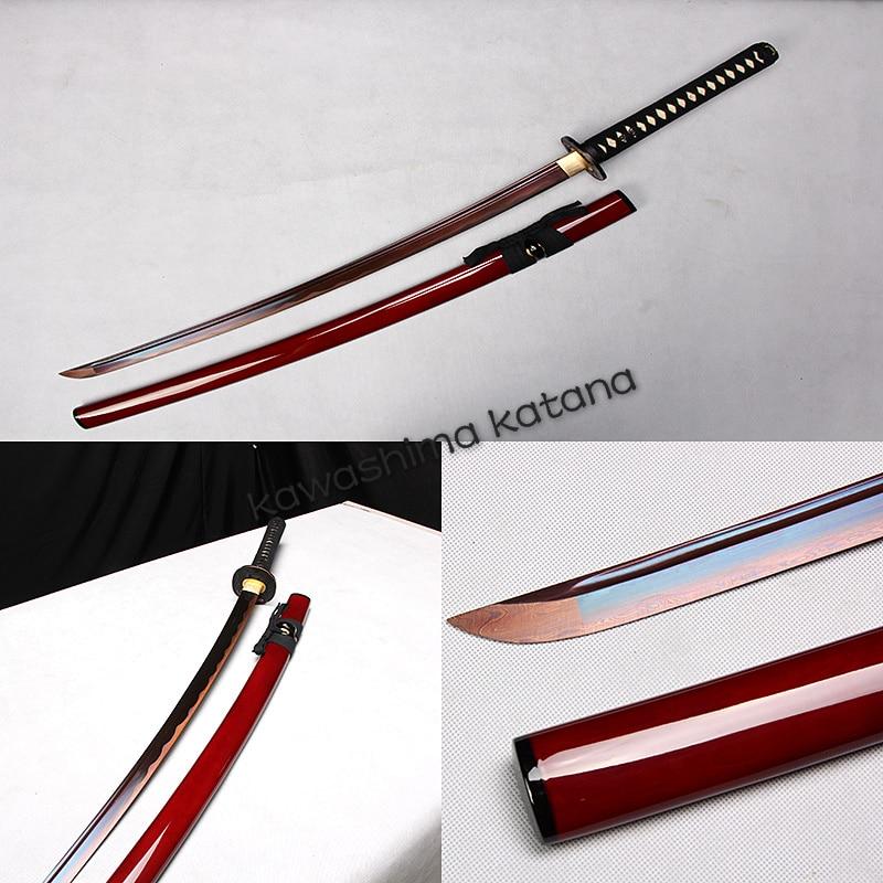 Handmade Folded Steel Red Samurai Sword Katana Sharp Edge Rubedo Blade Fashion Gift