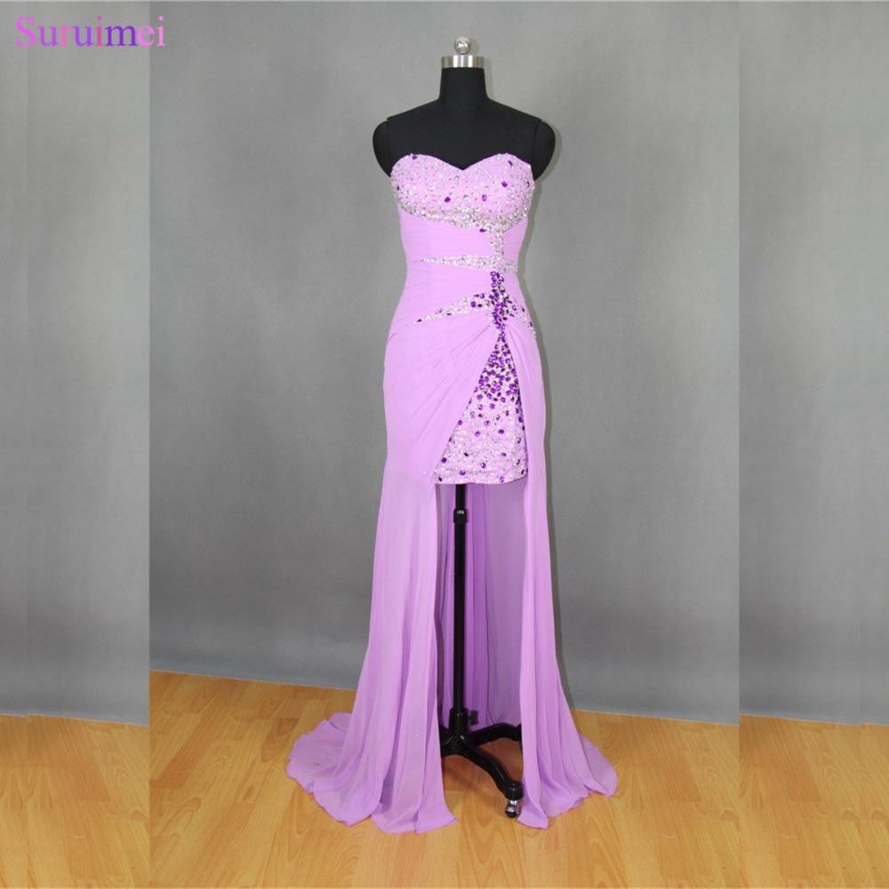 Real Hi Low   Prom     Dresses   Lavander High Slit Chiffon Long   Prom     Dresses   Beaded Short Front Long Back Evening   Dress   Free Shipping