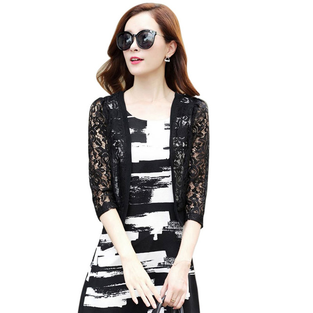Summer Floral Blouse Women Lace Cardigan Short Beach Cover Up Tops Ladies Shirts Loose Blusas 4