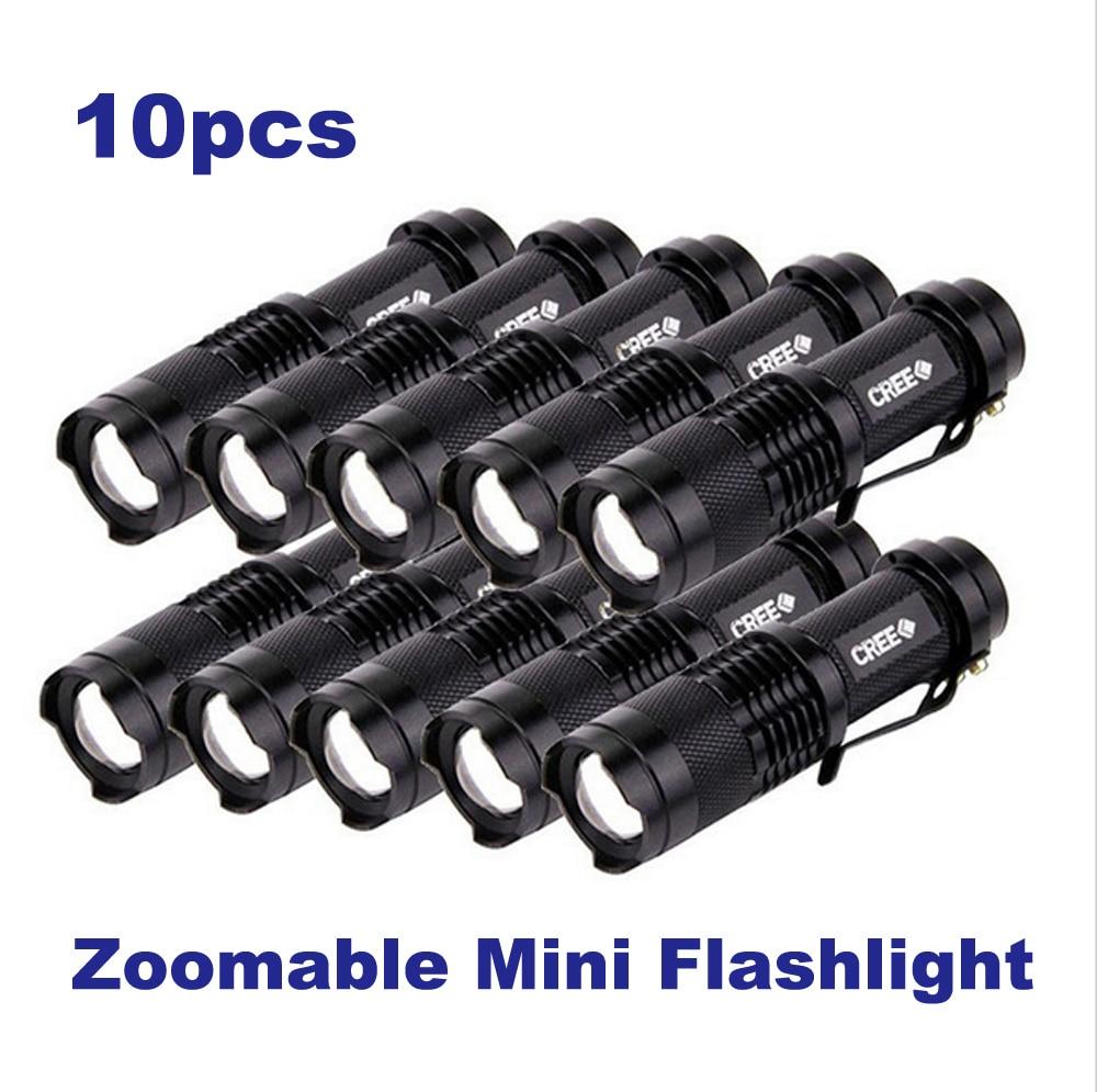 10pcs/lot Pocket Clip Penlight Mini LED Flashlight 3-mode Flash Lantern LED Light CREE XM-L Q5 600 Lumens Power By AA or 14500