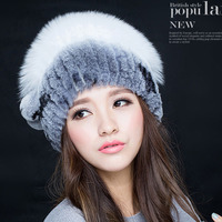 Knitted Hat For Women Real Fur Beanies Headgear For Women With Rabbit Fur Luxury Ball Flower