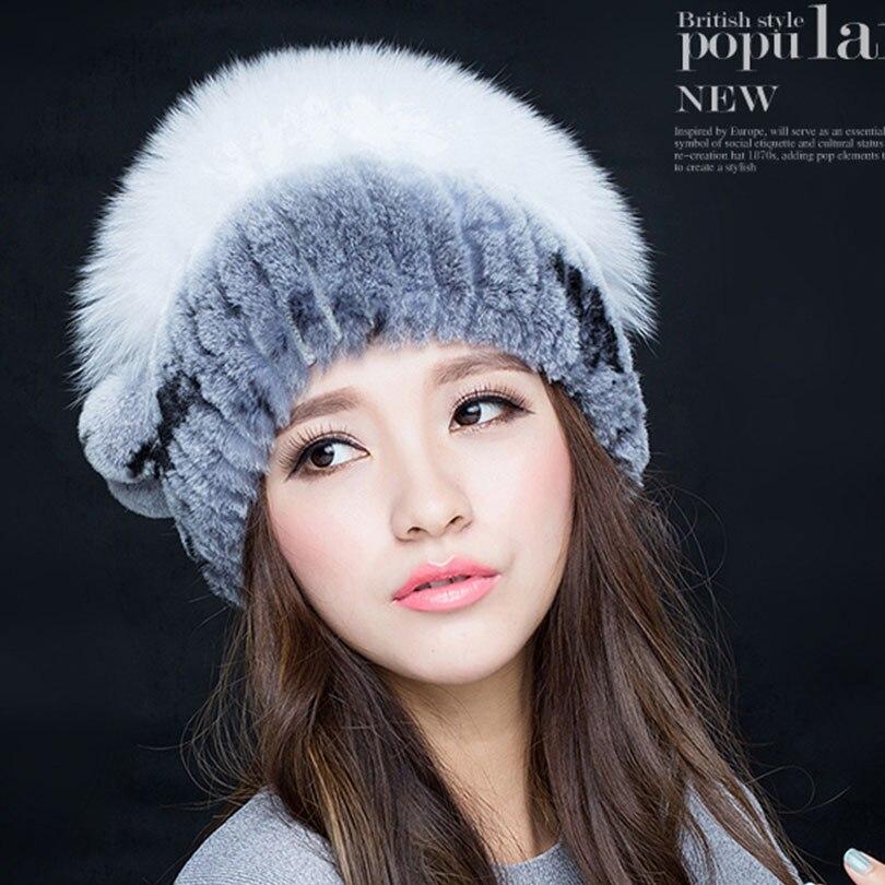 cf0d3aa7524 Knitted Hat for women real Fur Beanies Headgear For Women With Rabbit Fur  Luxury Ball Flower Cap Women s Customized Hat Beanie-in Skullies   Beanies  from ...