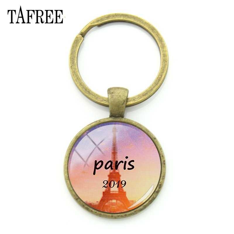 TAFREE Bonito Paris Torre Eiffel Corrente Chave Keychain Bronze Chapeado Pingente Cúpula de Vidro Imagem PR56 Jóias Para Mulheres Presente