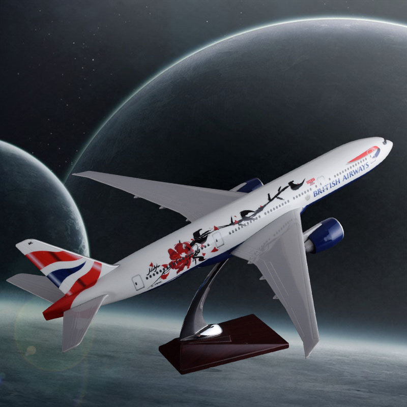 47cm Resin Aircraft Model B777 British Airways Craftwork Boeing 777 England Airplane Model Airbus Model Creative Collection Gift