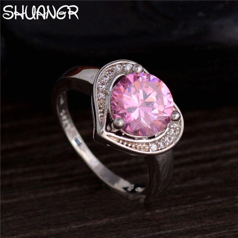 SHUANGR Sliver Cor do Ouro da Forma Do Coração Rosa Anel de Zircão Corte de  Cristal Brilhante CZ Pavimentada Branco Jóias Anéis de Design Moderno d3e1271470