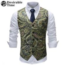 2018 Paisley Vest Men Fashion Flower Print Dress For Men Waistcoat Mens Wedding Vests Big Size M-5XL DT511
