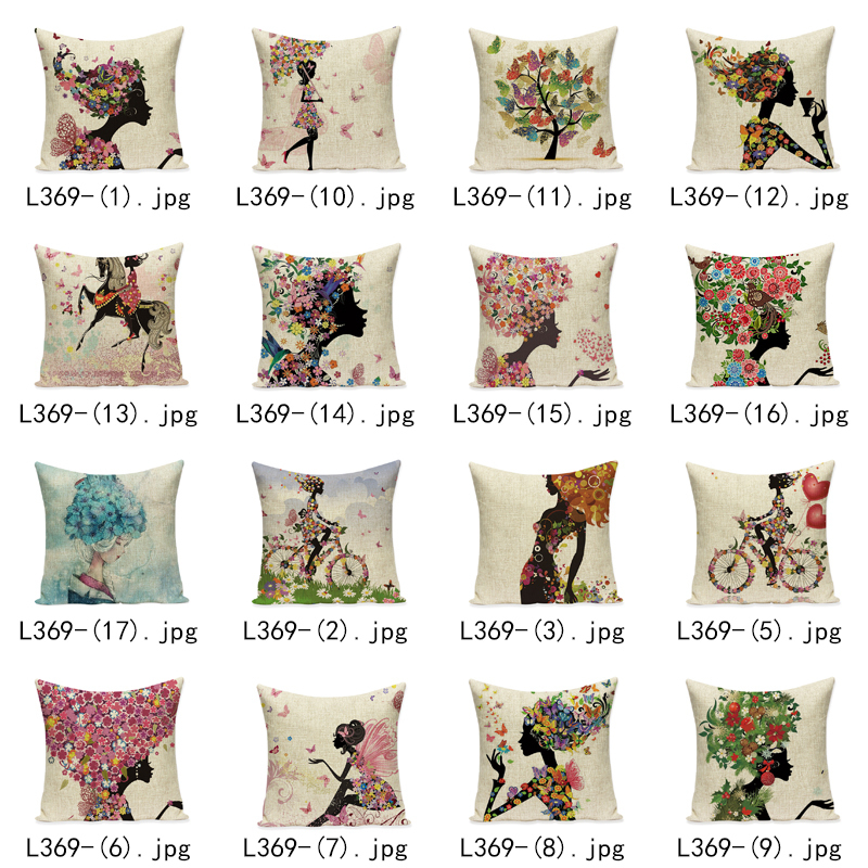 Angel Girl Fairy Cushion Cover Flower Love Heart Linen Botanical Cotton Pillow Covers Riding Horse Bedroom Sofa Decoration