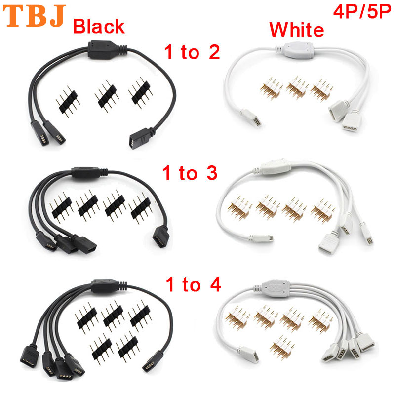 4 Pin 5 Pin RGB Led Connector Cable 1 To 2/ 1 To 3/ 1 To 4 RGB RGBW 4Pin 5Pin Splitter Cable For 3528 5050 LED Strip Light