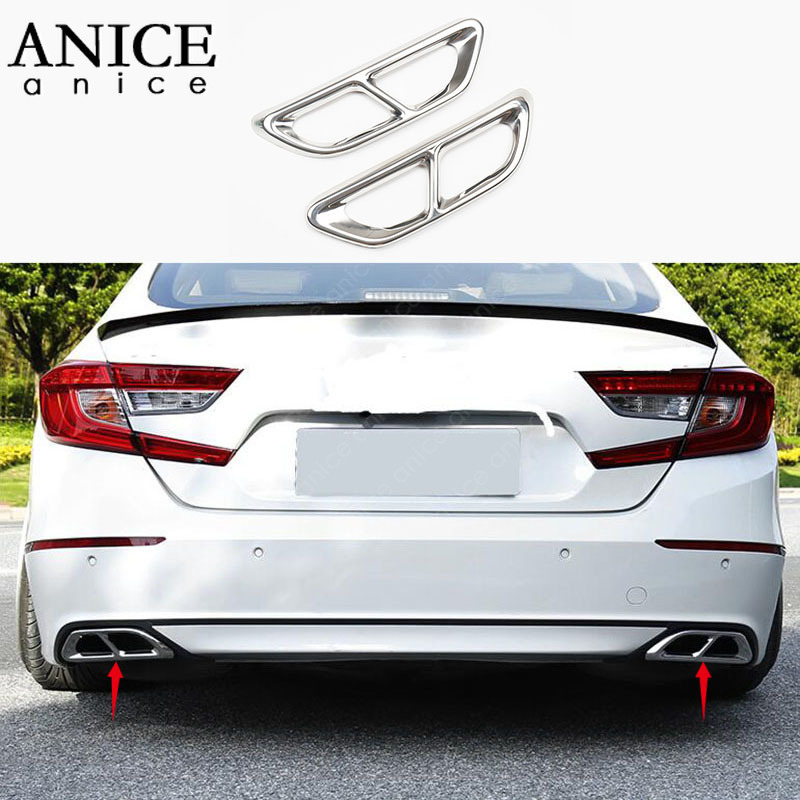 2pc Stainless Rear Cylinder Exhaust Pipe Cover Trim Fit For Honda Accord 2018