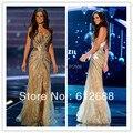 Vestido Senhorita Universo Brasil Gabriela Markus Verão Pageant Ouro Side Dividir Cristal Beading Lace Tulle Vestidos de Noite