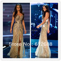 Vestido de Miss Universo Brasil Gabriela Markus Verano Desfile Oro Side Dividir Crystal Partida Encaje Tul Vestidos de Noche