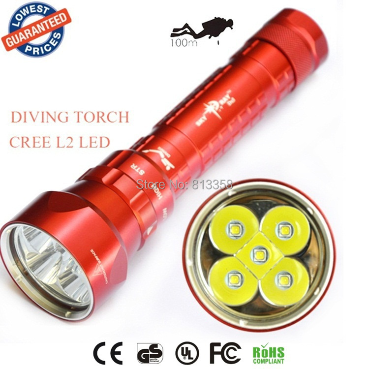 2015 NEW SY-068 diving flashlight 5xCREE XM-L2 led 8000LM diving light flashlight L2 torch lantern sy 068 diver 100m waterproof 5xcree xml l2 led diving flashlight 8000lm torch magnetic switch lanterna 18650 battery charger