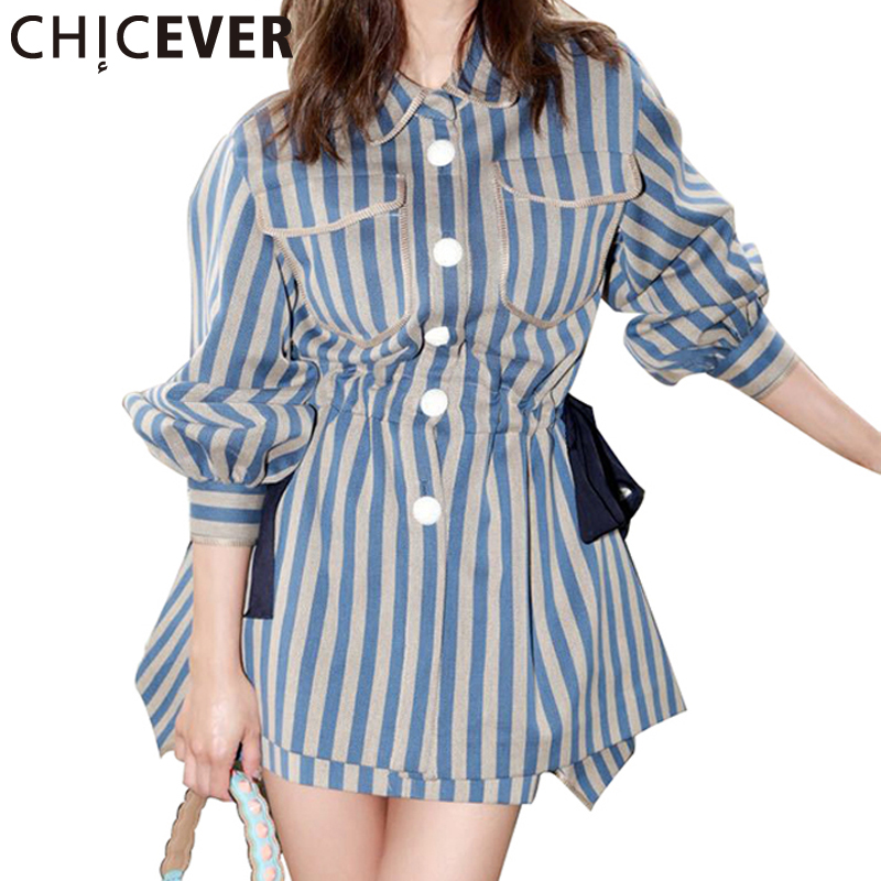 CHCIEVER Lantern Sleeve Striped Long Shirt Dress Spring 2017 Loose Turn Down Collar Party Dresses