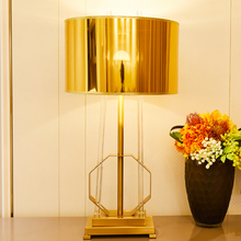 Golden Lampshade Iron Metal Table Lamps For Living Room Clear Glass Strip Luxurious Lamp Home Decor 220v 110v